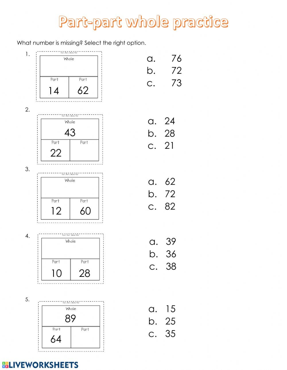 Part Part whole Math Worksheets Part Part whole Interactive Worksheet