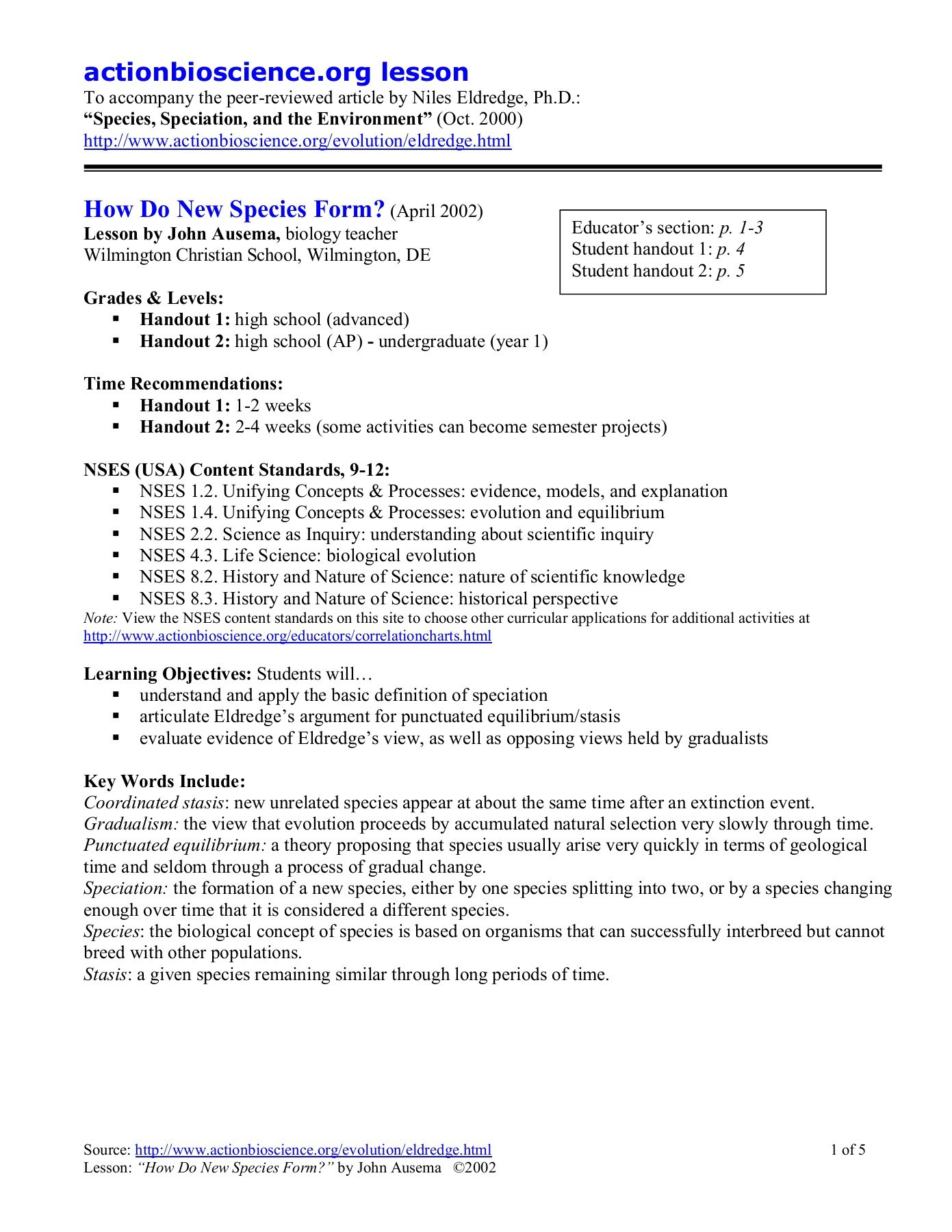 Peer Review Worksheet High School Actionbioscience Lesson How Do New Species form Pages 1