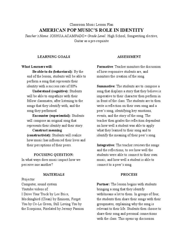 Peer Review Worksheet High School Classroom Music Lesson Plan Lesson Plan