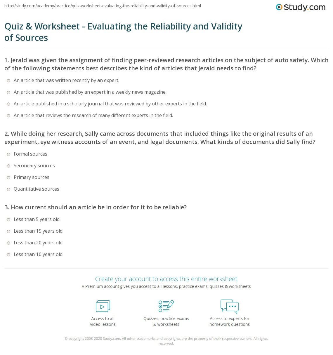 Peer Review Worksheet High School Quiz & Worksheet Evaluating the Reliability and Validity