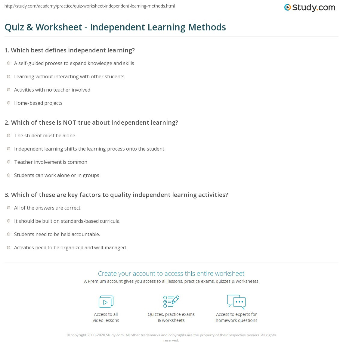 Peer Review Worksheet High School Quiz & Worksheet Independent Learning Methods