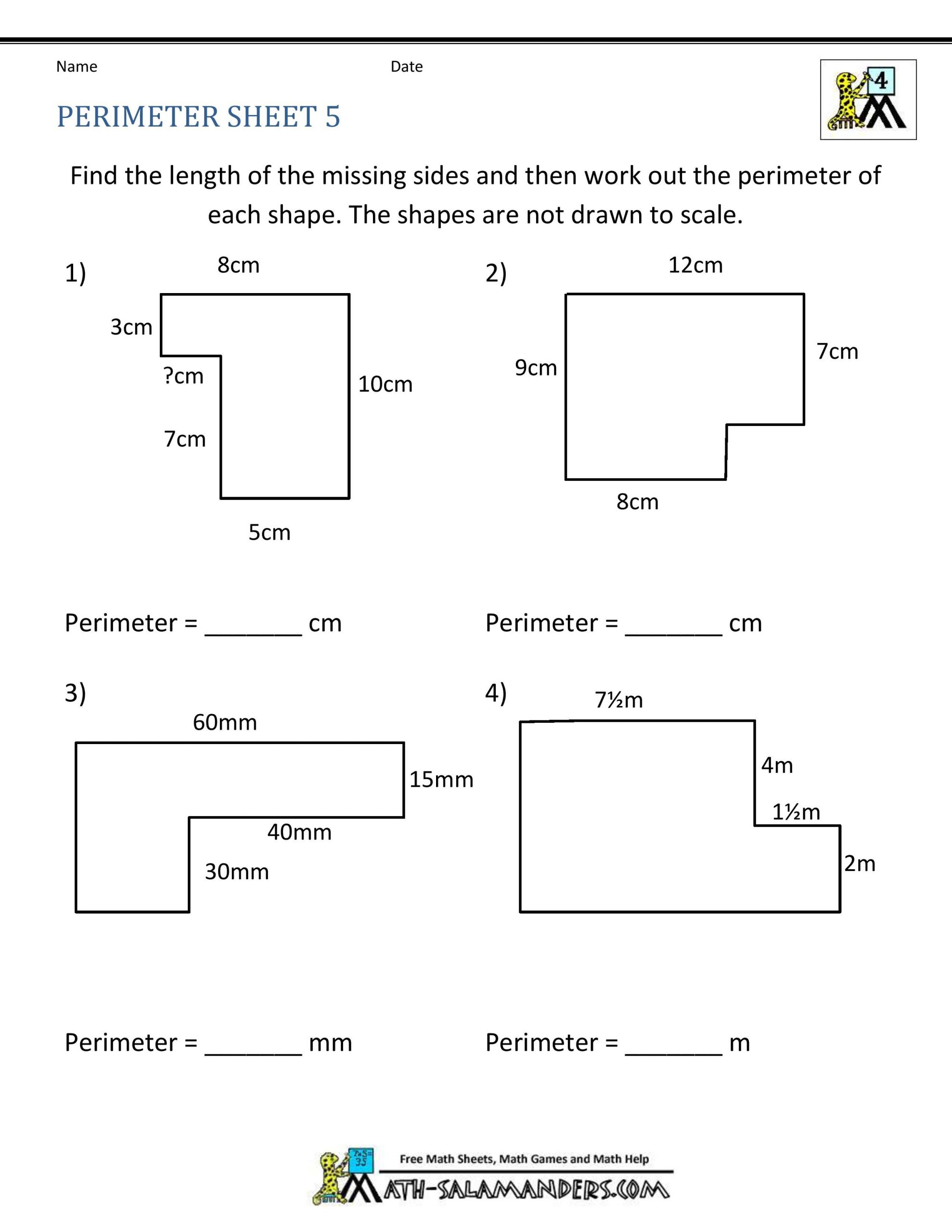 Perimeter Worksheets 3rd Grade Pdf Advanced Perimeter Worksheets