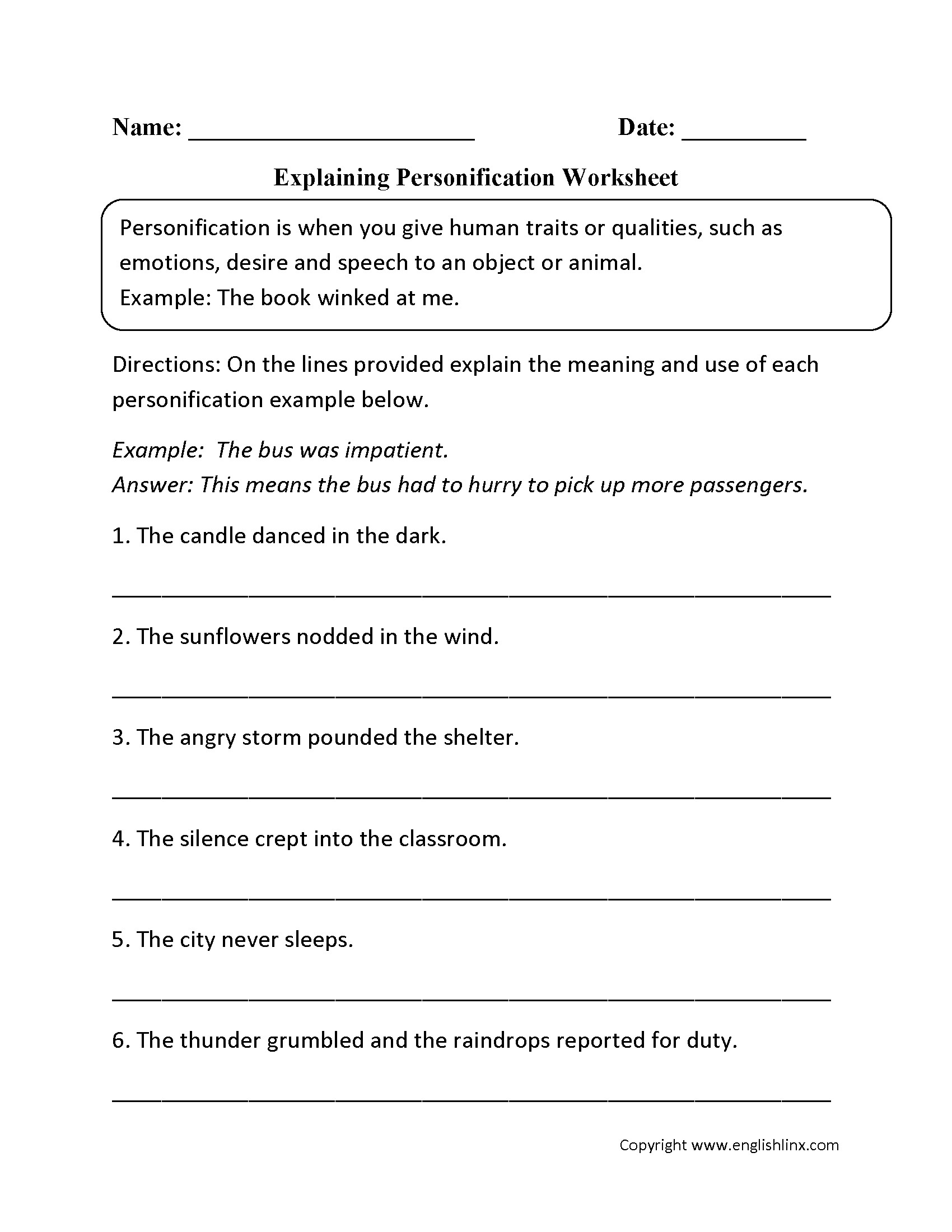 Personification Worksheets for Middle School Personification Worksheet