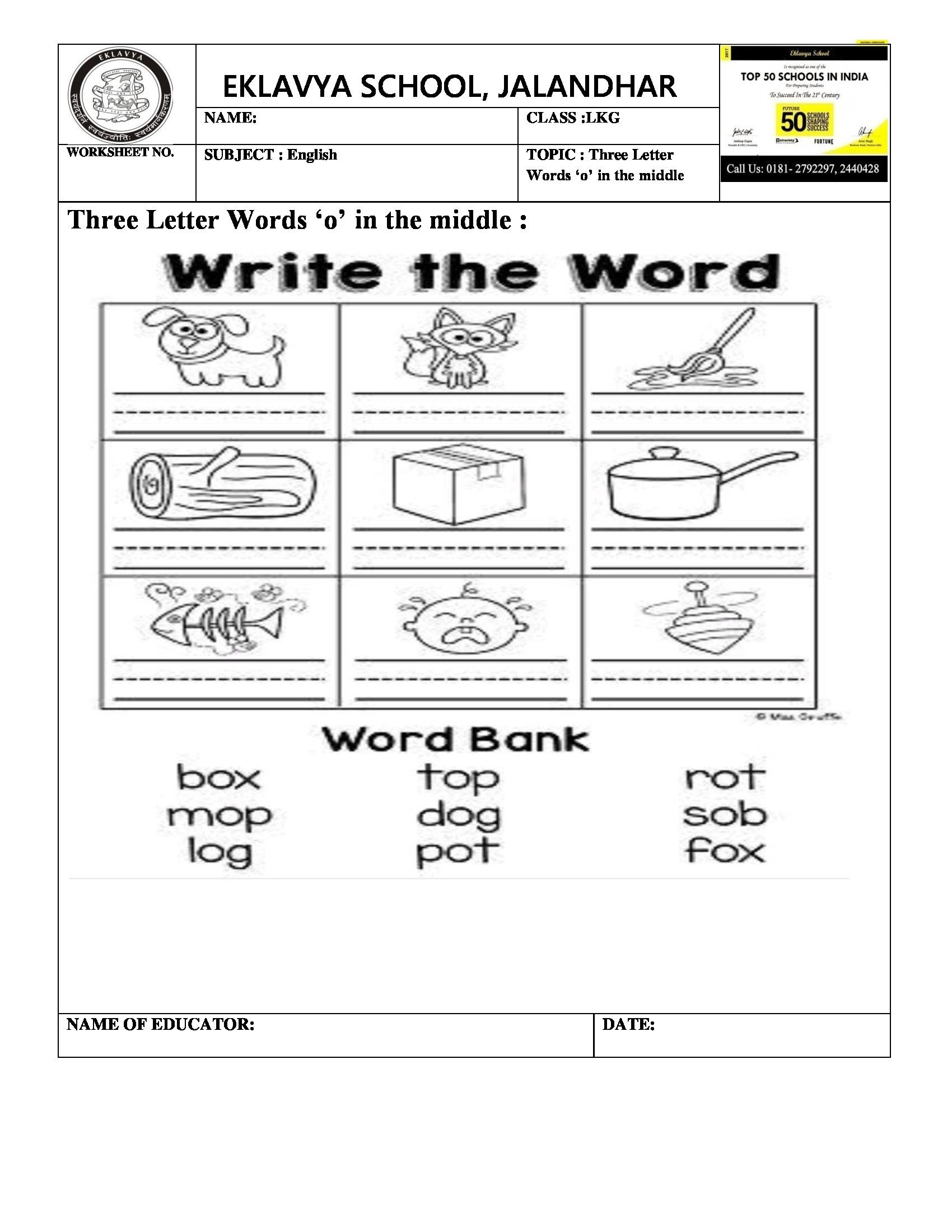 Phonics Worksheets Grade 3 Three Letter Words with O In the Middle Worksheet
