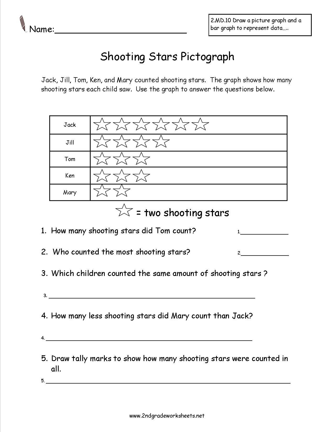 Pictograph Worksheets 3rd Grade Shooting Stars Pictograph Worksheet