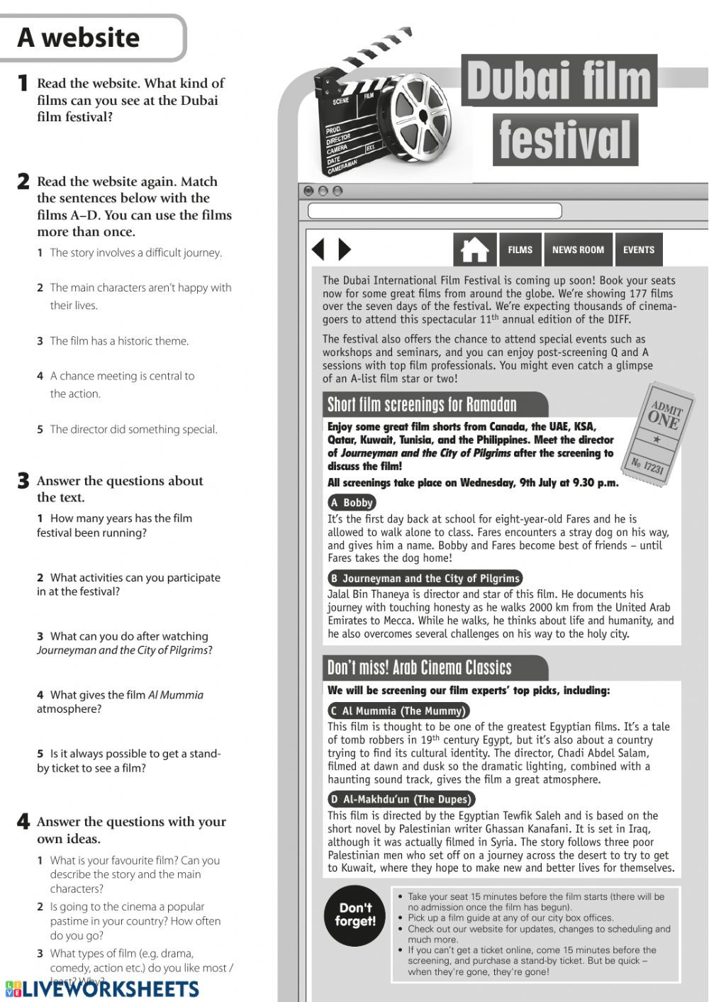Pilgrims Reading Comprehension Worksheet Reading the Dubai Festival Interactive Worksheet
