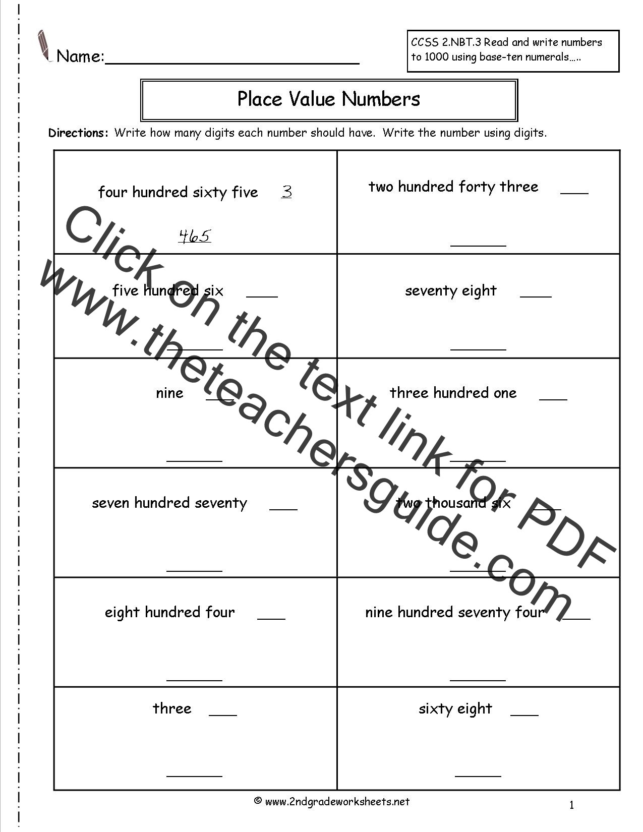 Place Value 2nd Grade Worksheet Place Value Es Worksheets