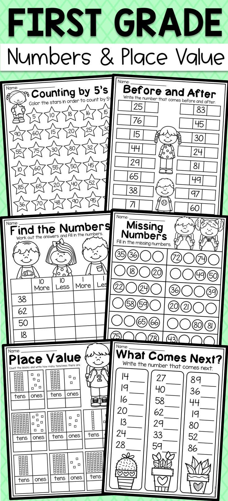 Place Value First Grade Worksheets First Grade Numbers and Place Value Worksheets Distance