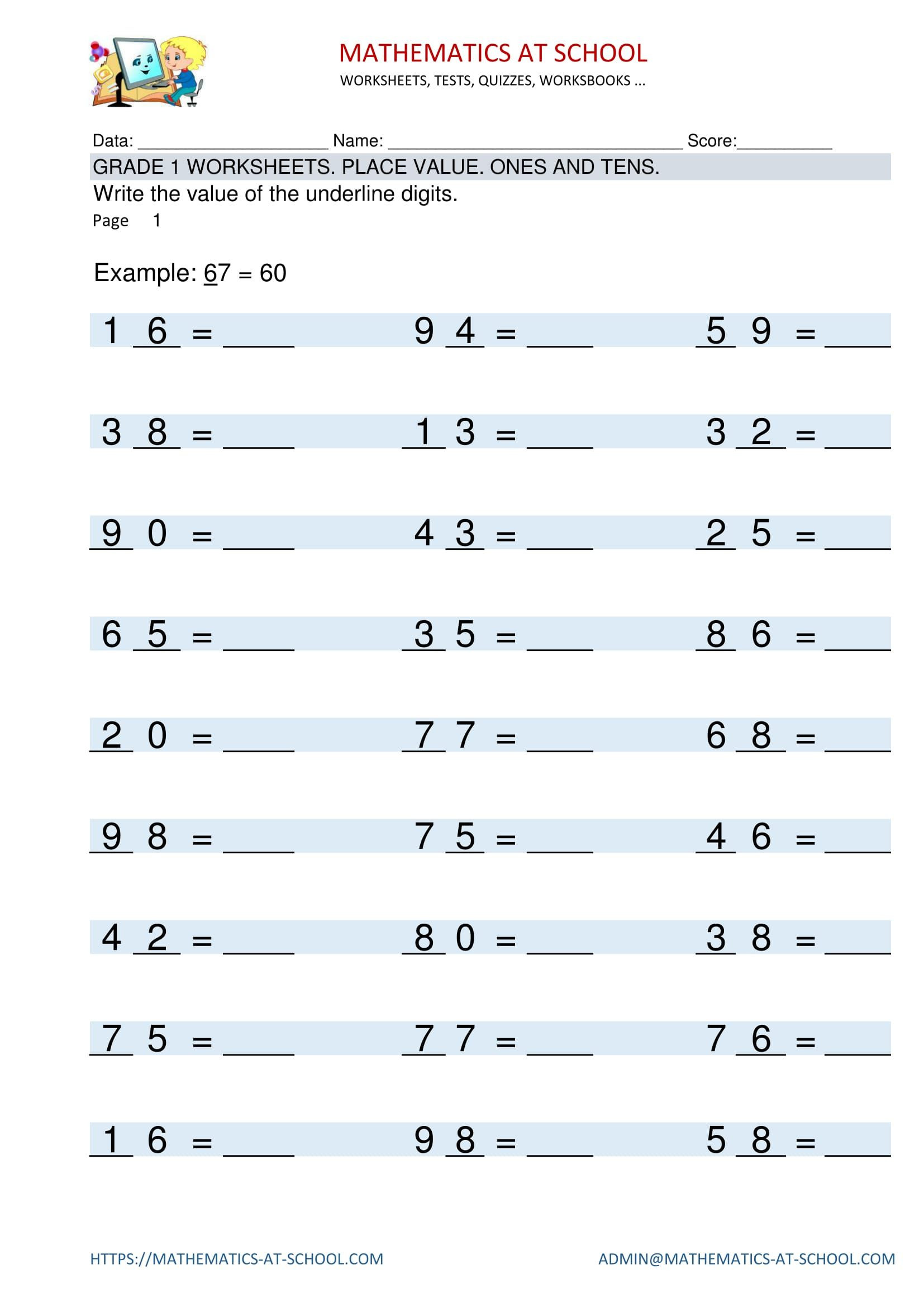 Place Value First Grade Worksheets Grade 1 Worksheets Place Value Identifying Place Value Of