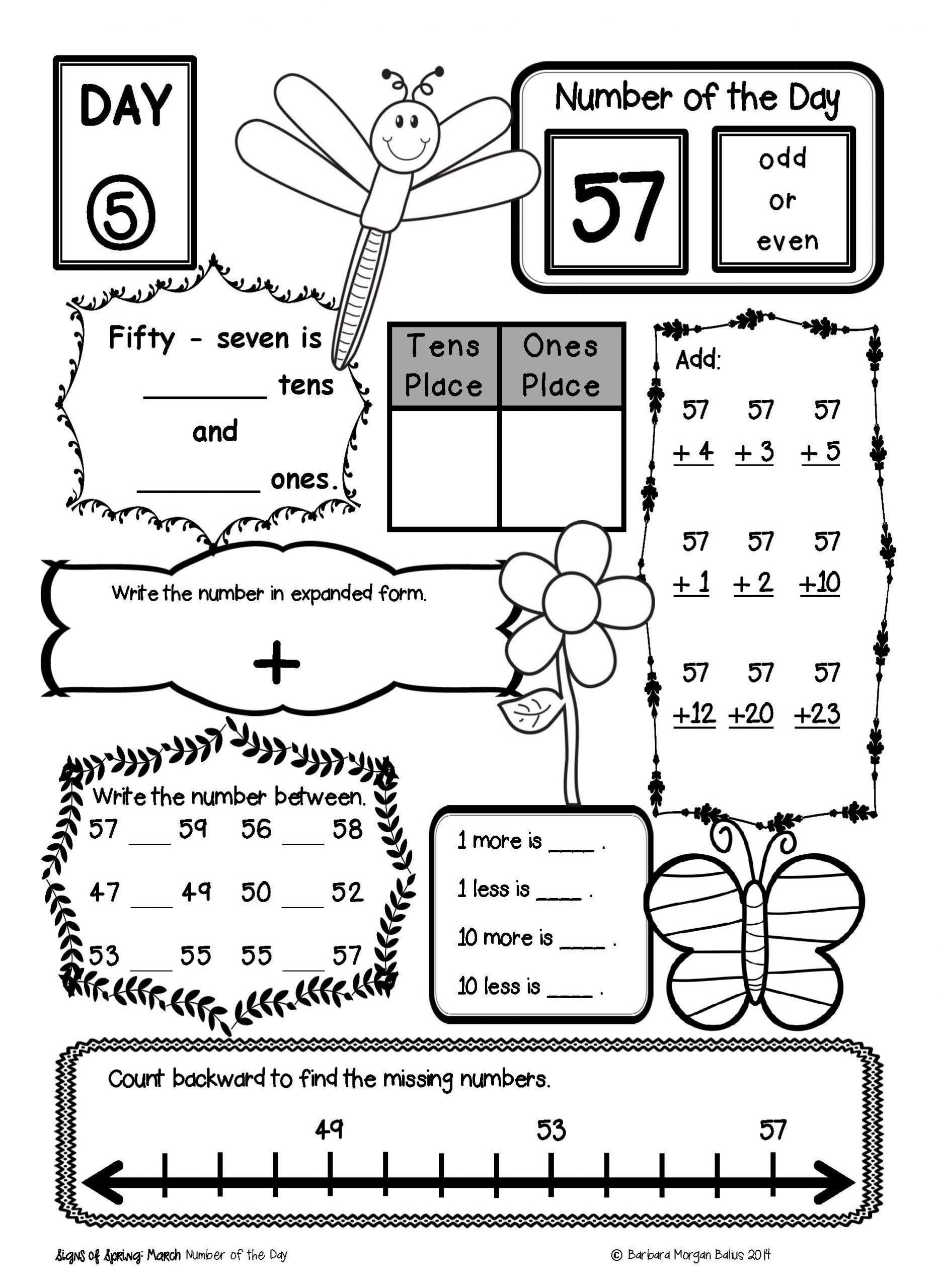 Place Value First Grade Worksheets Number Sense Google Slides™ Place Value Number Of the Day