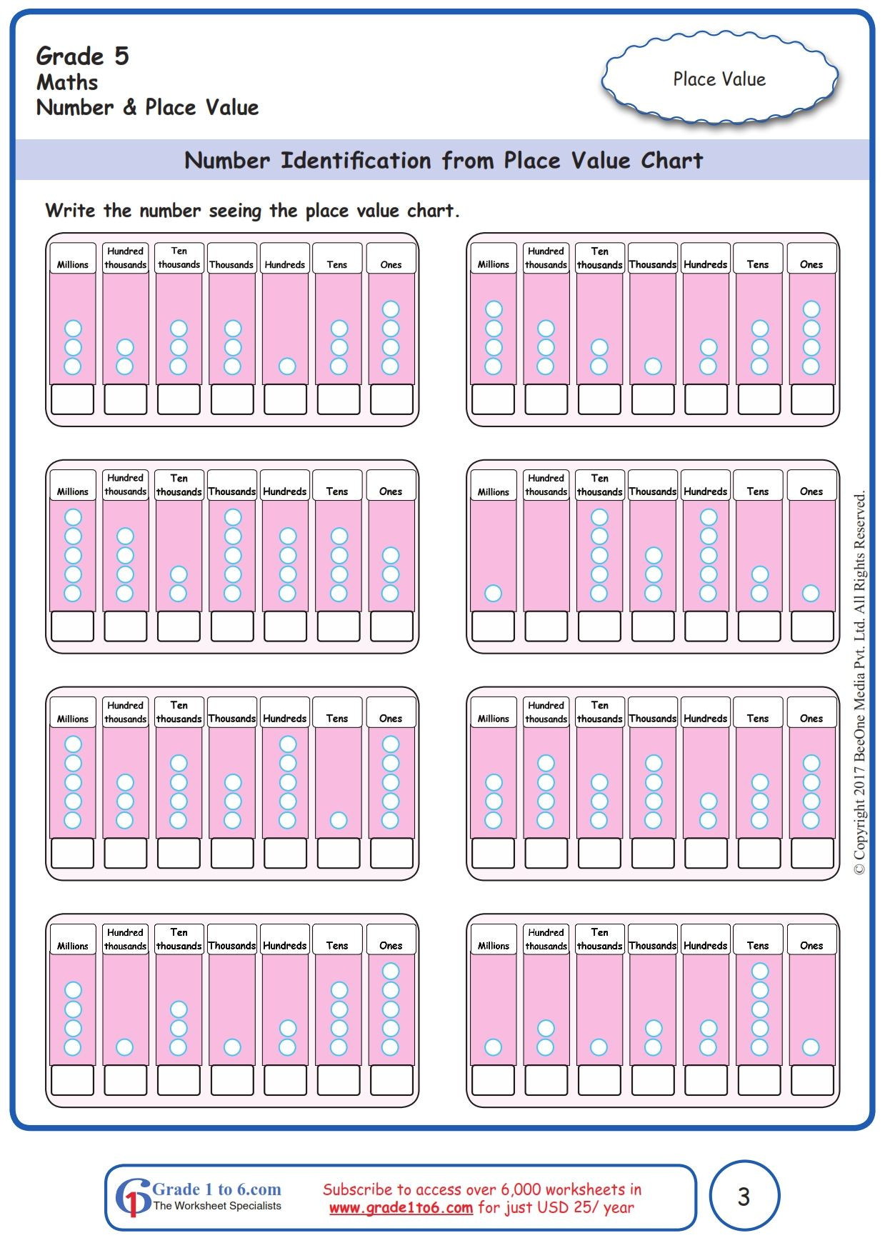 Place Value Worksheets Grade 5 Free Math Worksheets for Grade 1 Through Grade 6 Subscribe