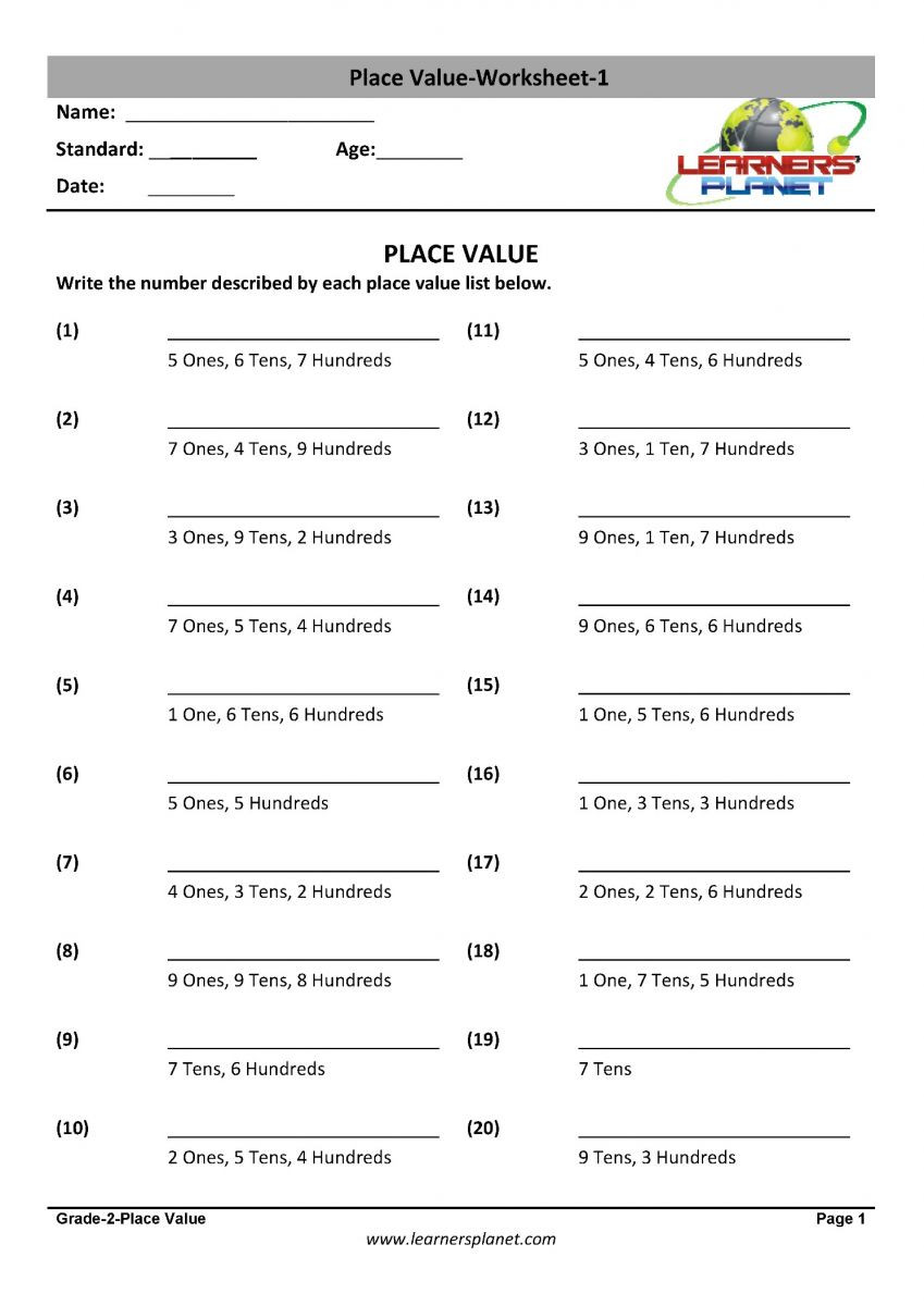 Place Value Worksheets Grade 5 Place Value Maths Practice Tests Expanded form Value
