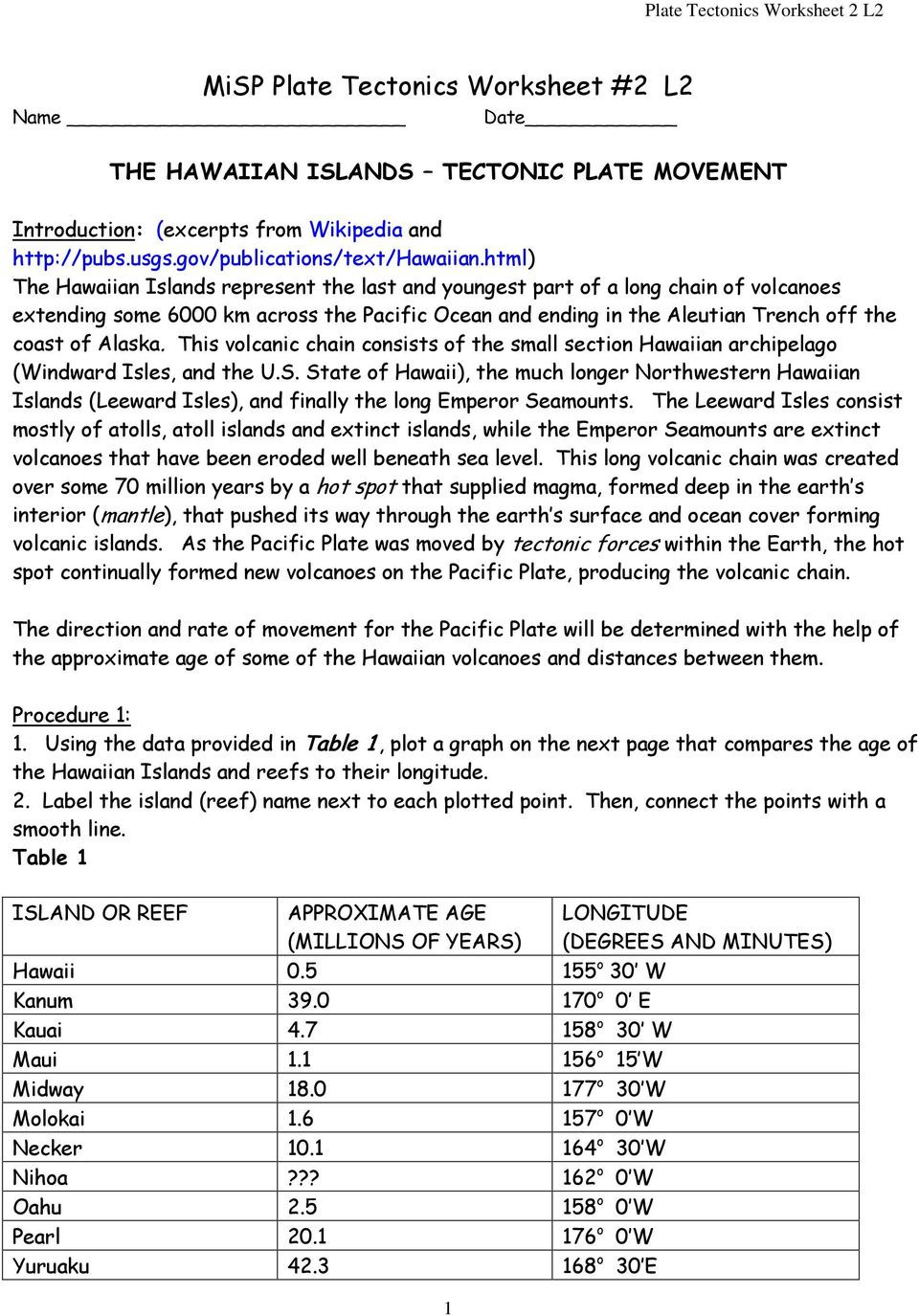 Plate Tectonics Worksheet 6th Grade Misp Plate Tectonics Worksheet 2 L2 Pdf Free Download