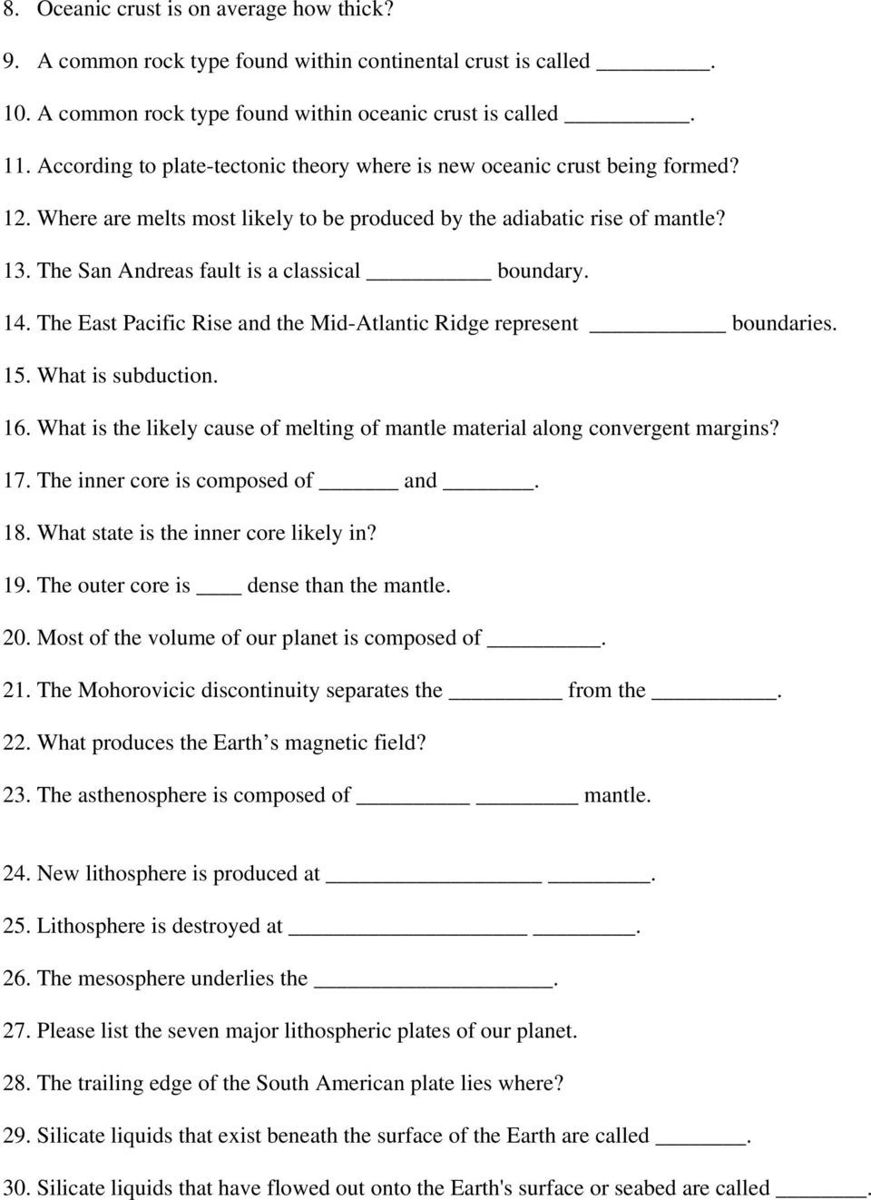 Plate Tectonics Worksheet 6th Grade Plate Tectonics Practice Questions and Answers Revised