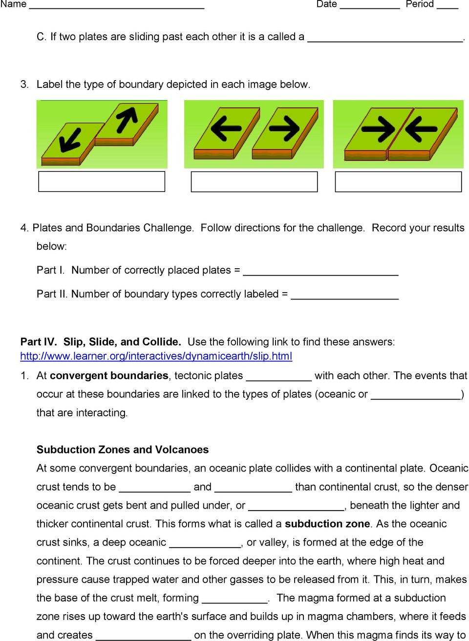 Plate Tectonics Worksheet 6th Grade Plate Tectonics Web Quest Pdf Free Download