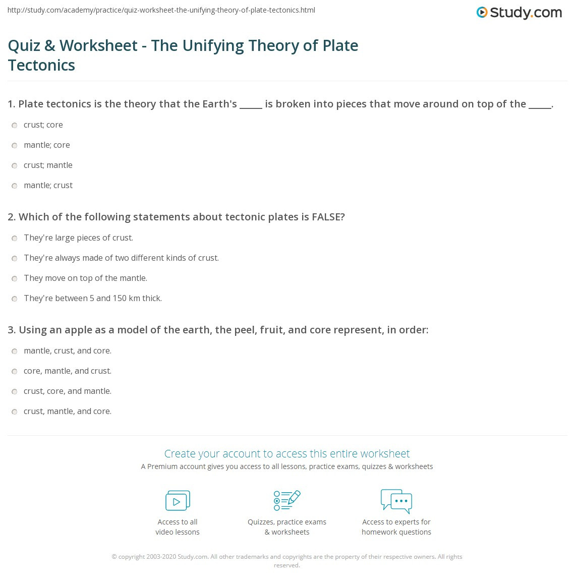 Plate Tectonics Worksheet 6th Grade the theory Plate Tectonics Worksheet Answers