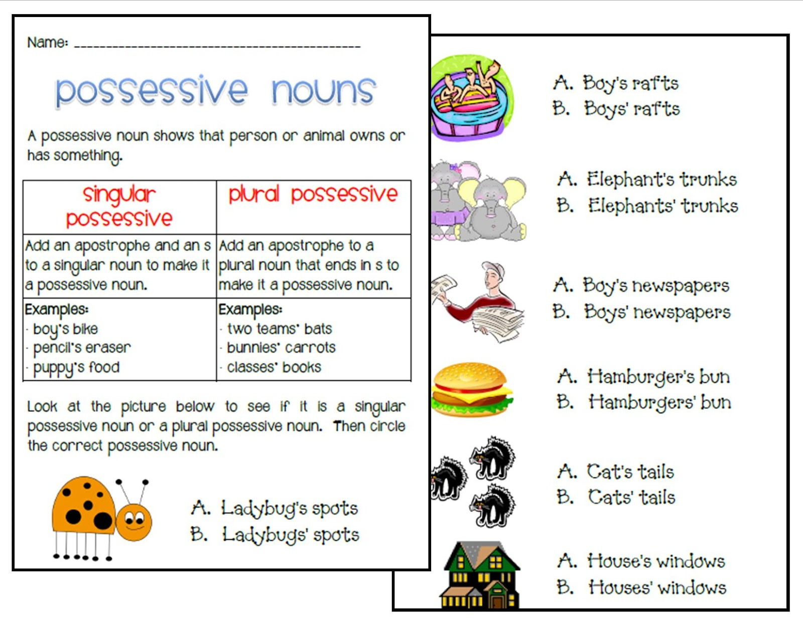 Possessive Nouns Worksheet 2nd Grade Copy Possessive Nouns Lessons Tes Teach