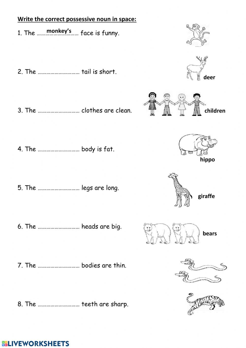 Possessive Nouns Worksheet 2nd Grade Possessive Nouns Grammar Worksheet