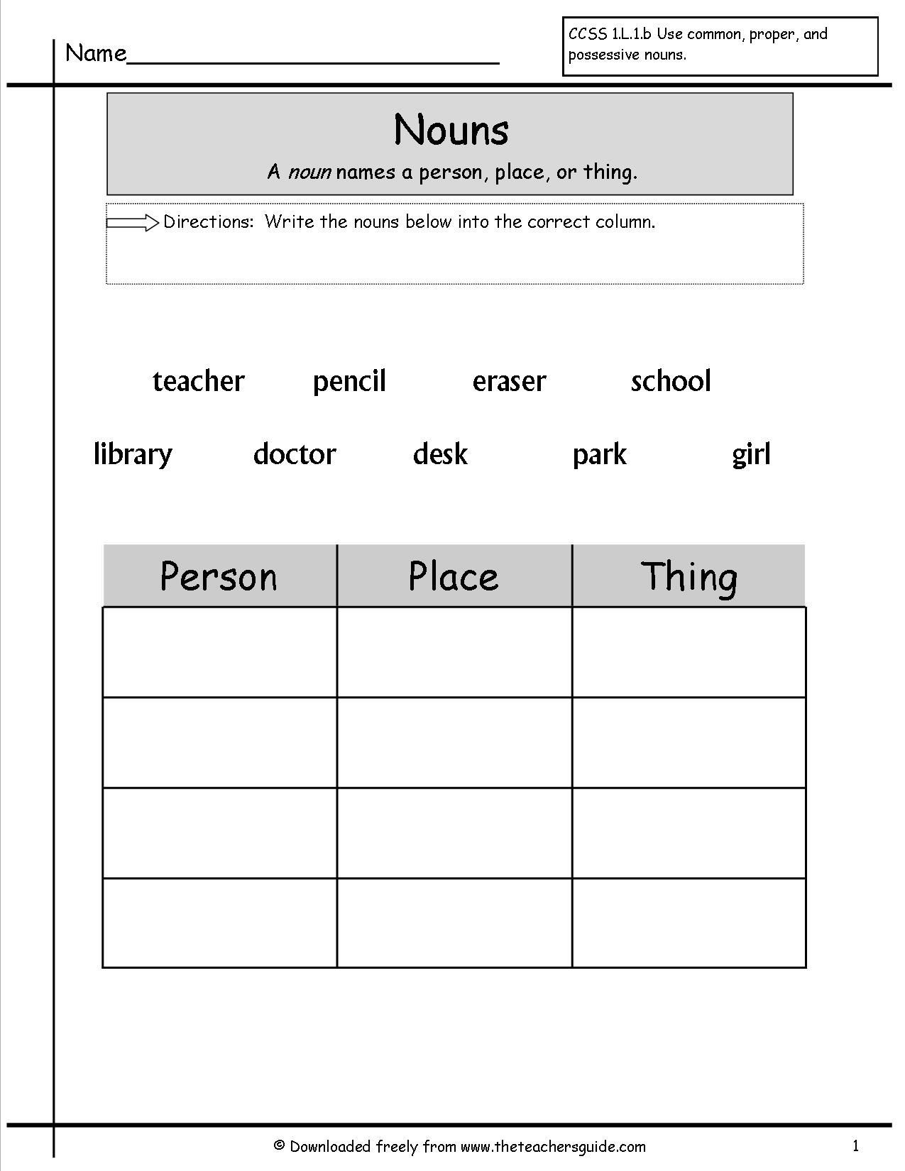 Possessive Nouns Worksheets 1st Grade Noun Worksheets for Grade 1