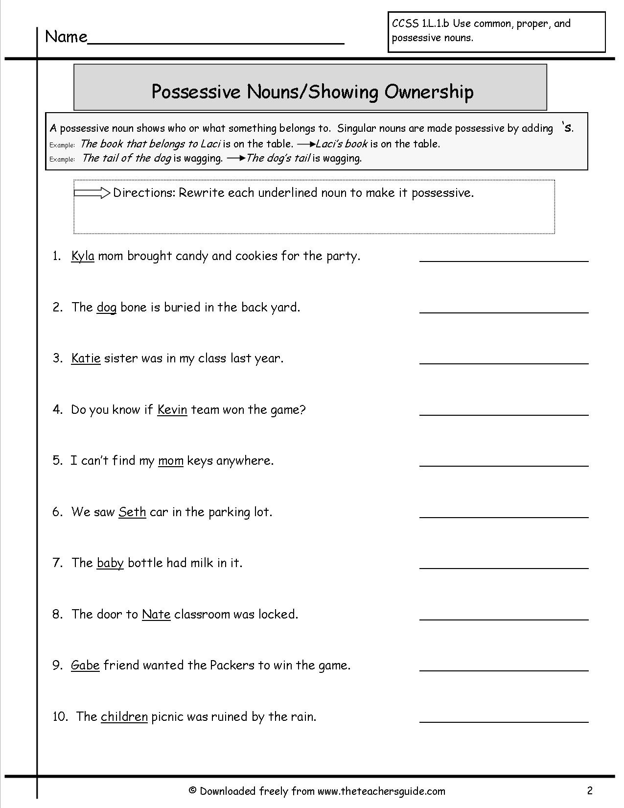 Possessive Pronouns Worksheet 2nd Grade Wonders Second Grade Unit Two Week Five Printouts