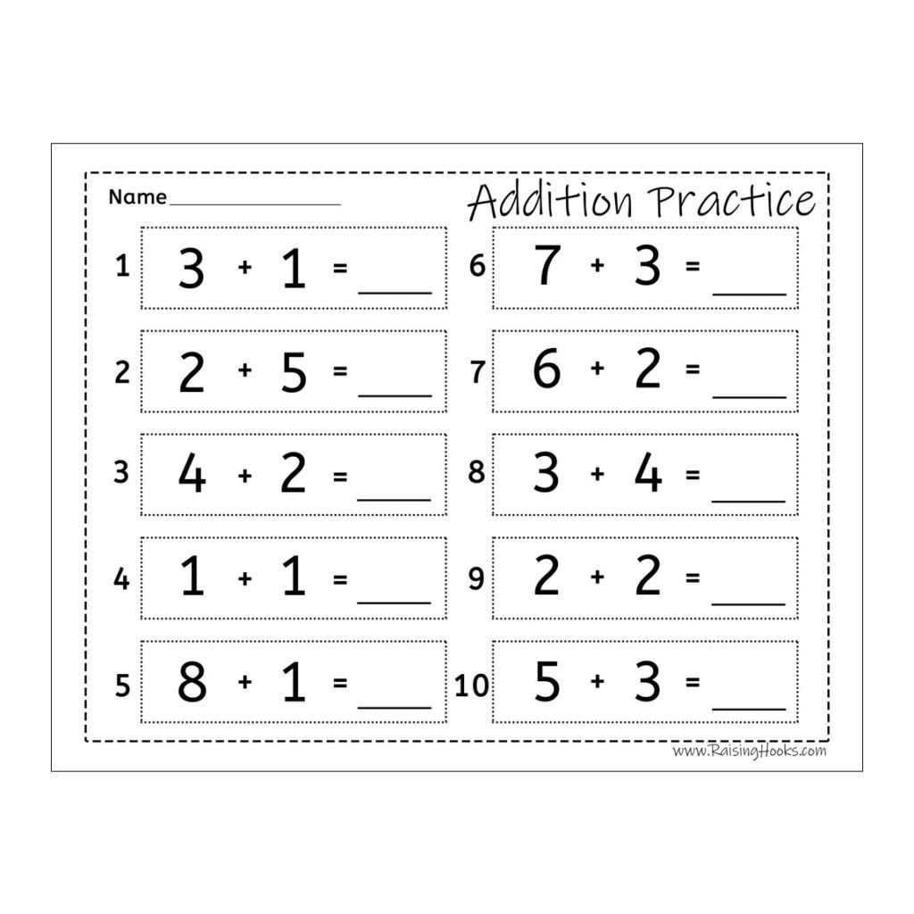 Practice Writing Hooks Worksheet Addition Practice Raising Hooks