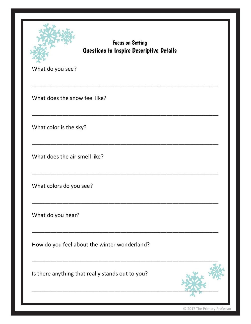 Practice Writing Hooks Worksheet Descriptive Writing Lesson A Winter Setting — Teachwriting