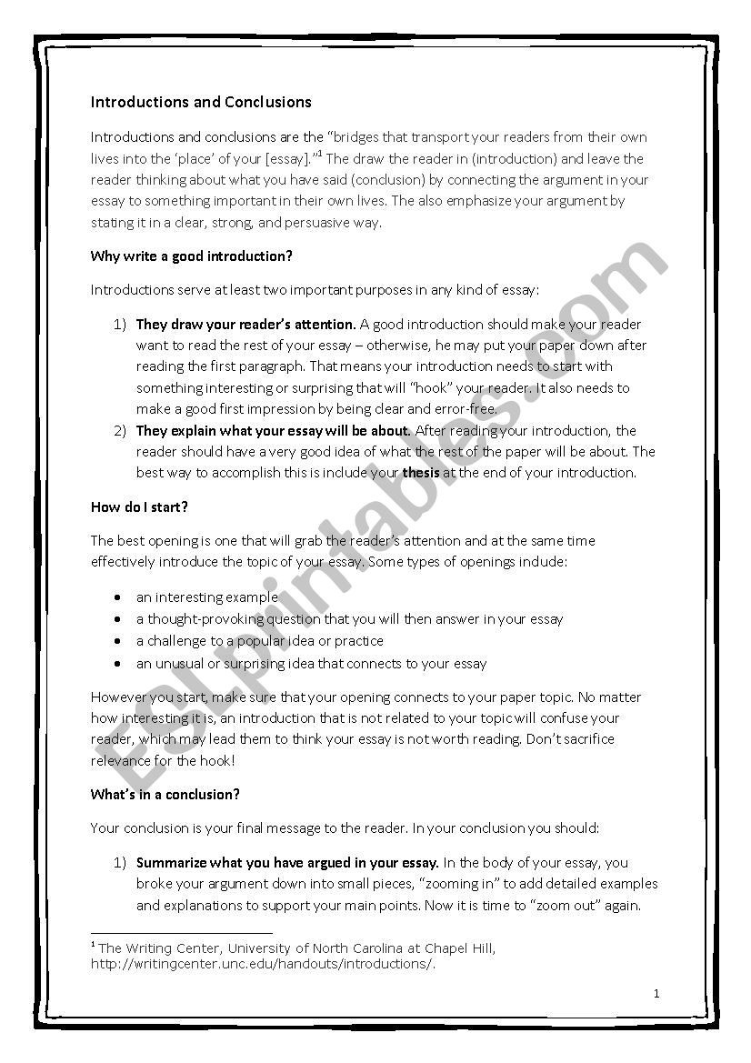 Practice Writing Hooks Worksheet How to Write Essay Introductions and Conclusions Esl
