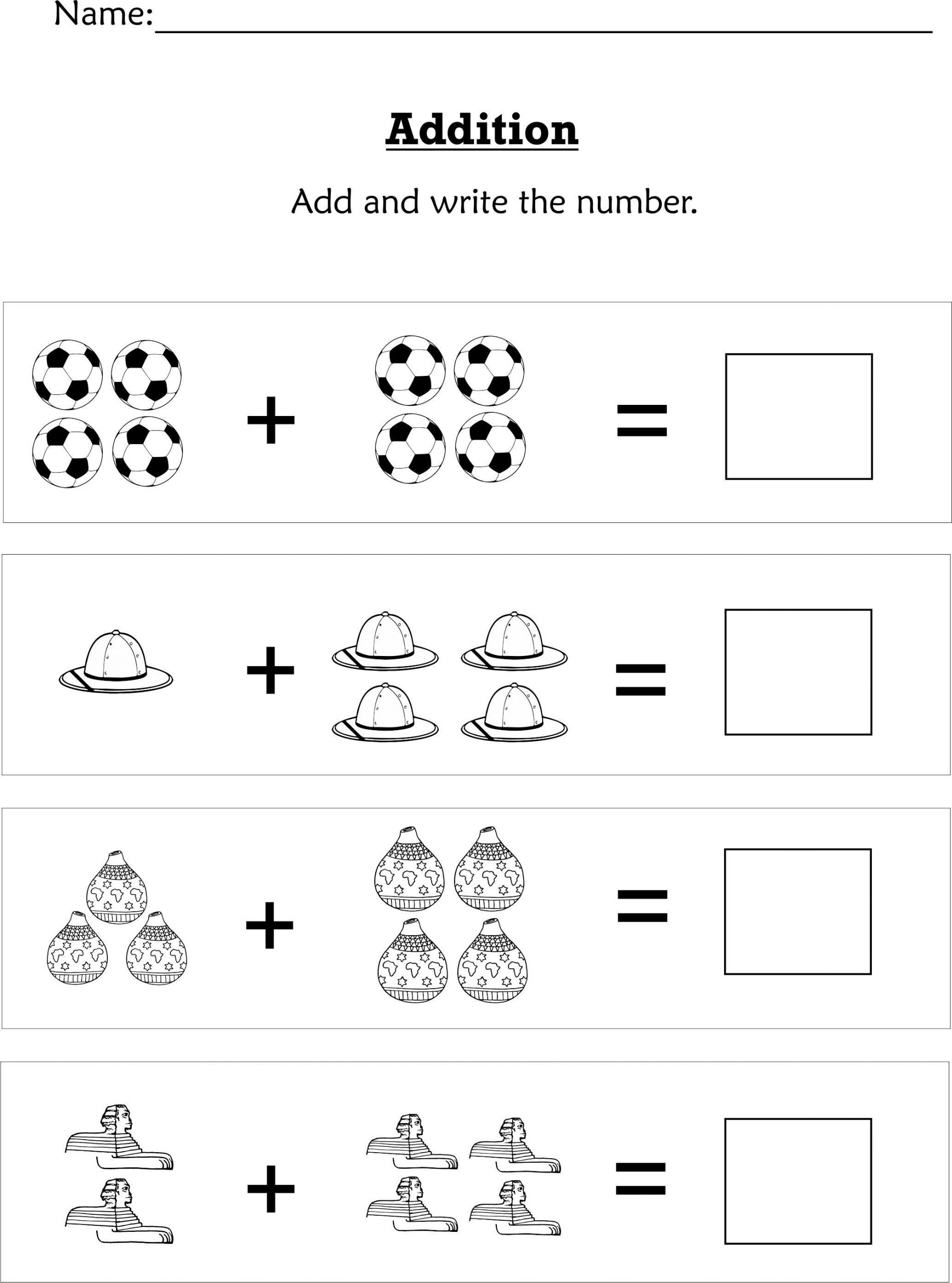 Pre K Math Worksheets Simple Addition for Preschoolers or Early Kindergartners