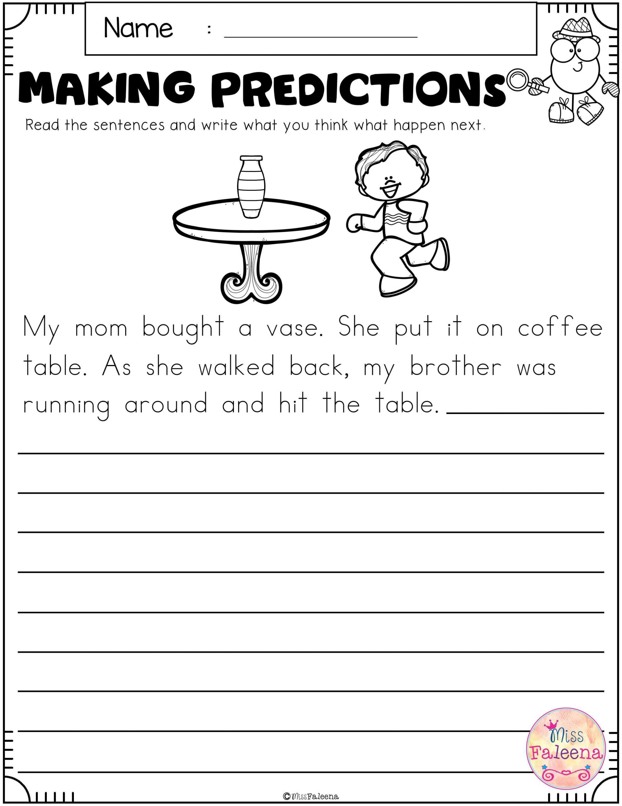 Prediction Worksheets for 2nd Grade Free Making Predictions with Images
