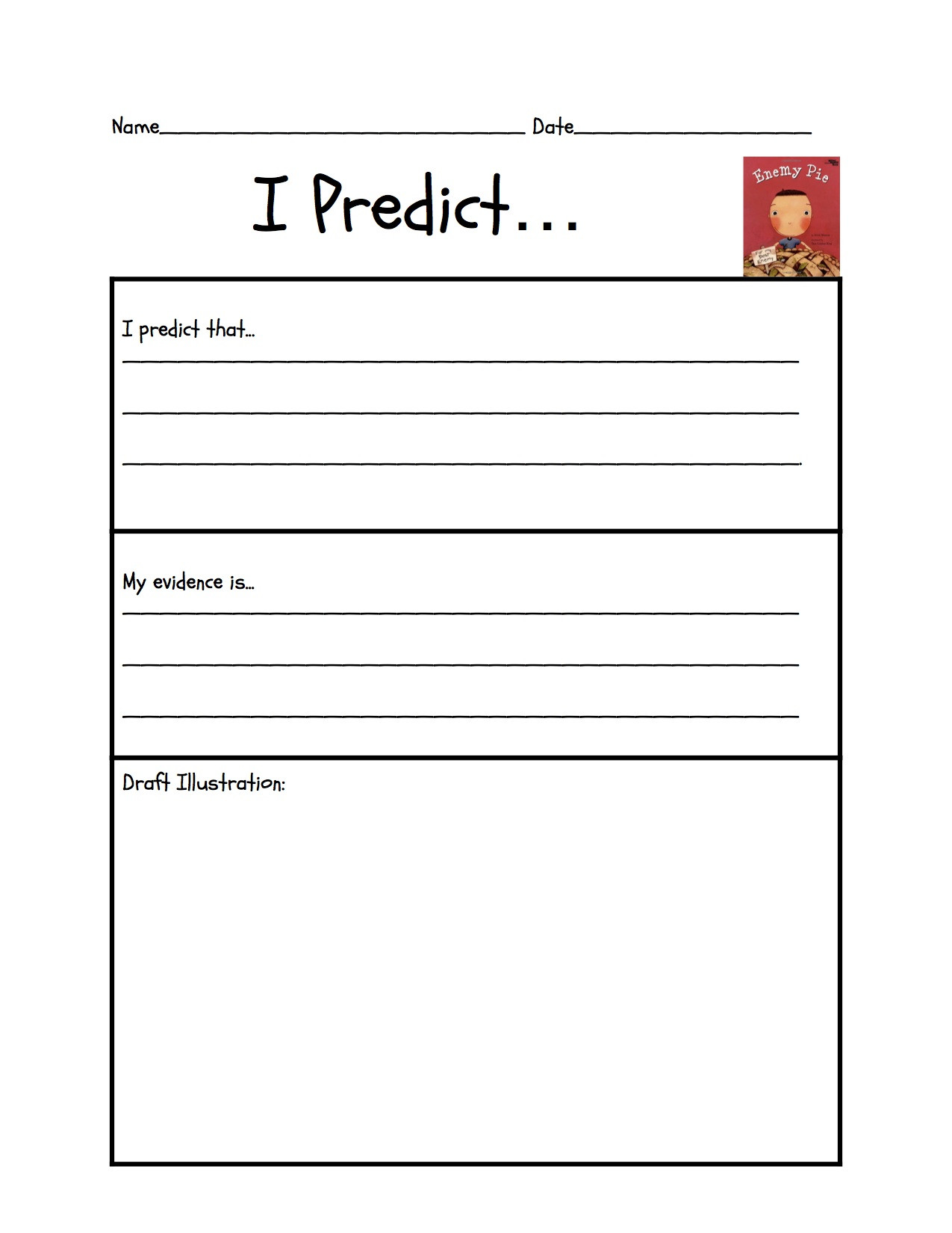 "Prediction Worksheets for 2nd Grade Predicting ""enemy Pie"""