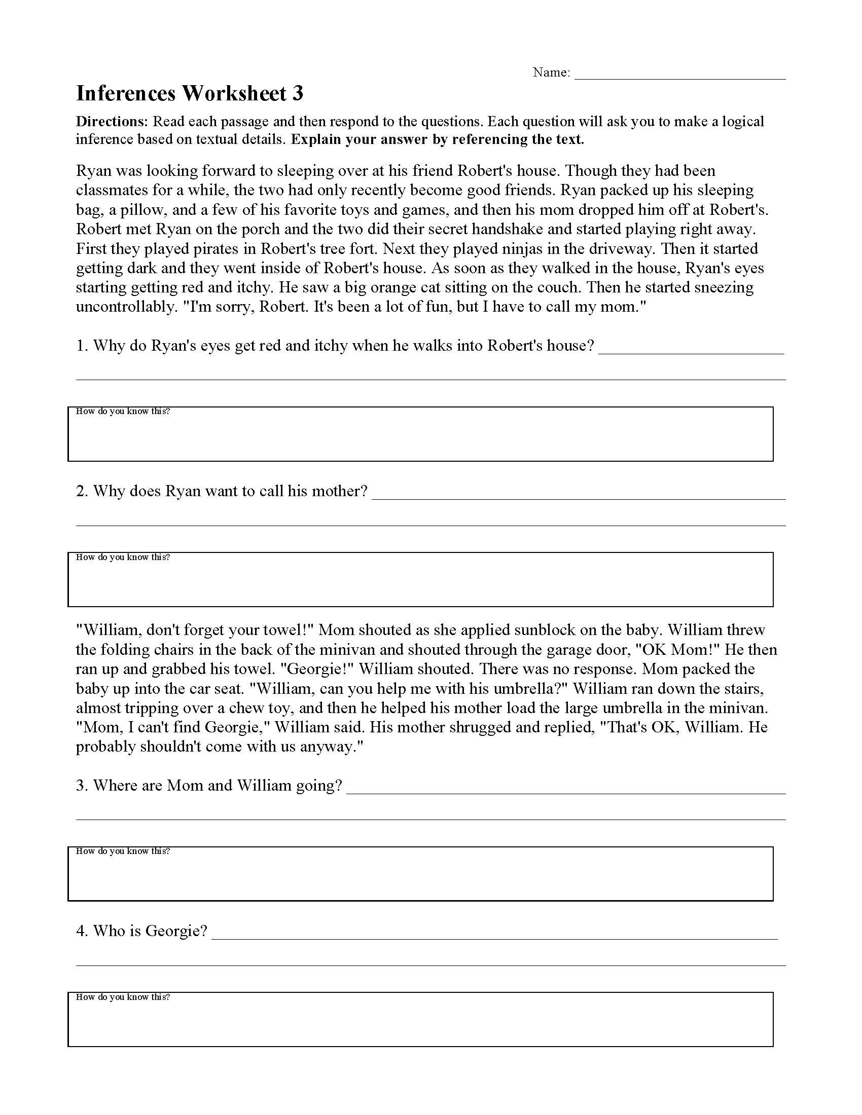 Prediction Worksheets for 3rd Grade Inferences Worksheets