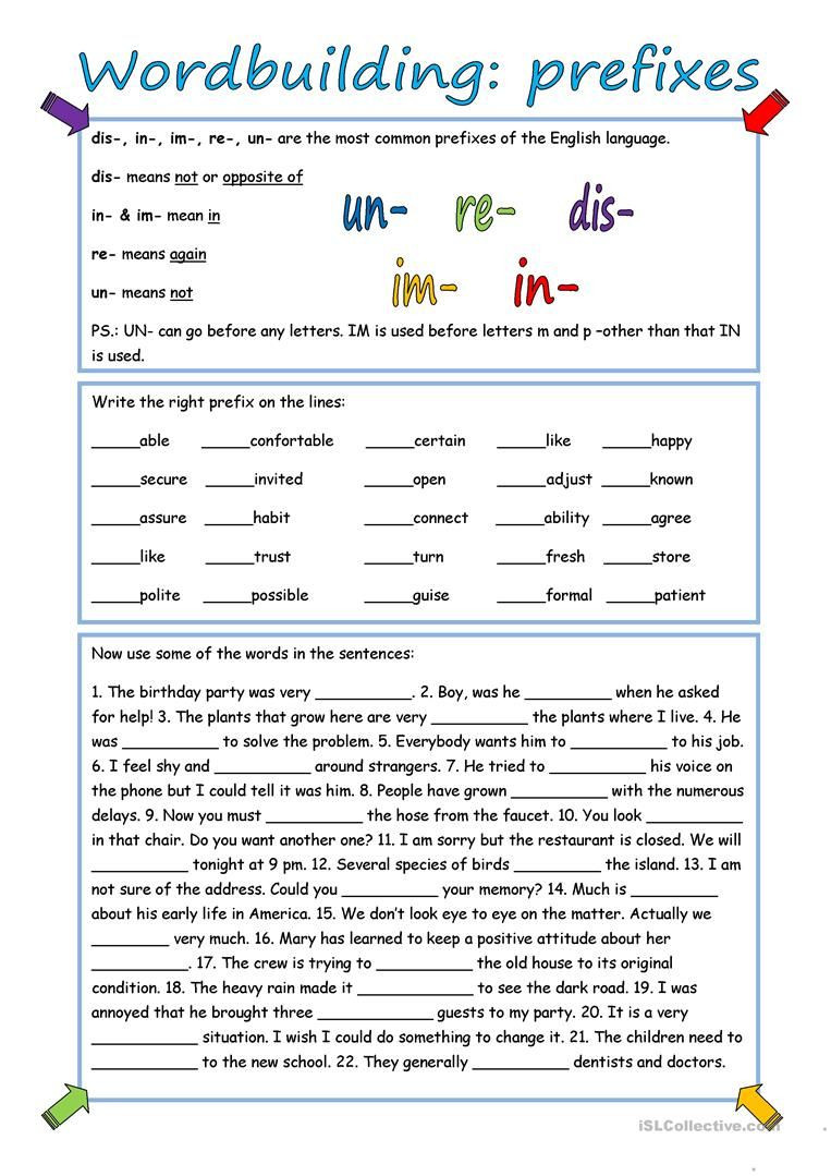 Prefix Worksheet 4th Grade Wordbuilding Prefixes with Key