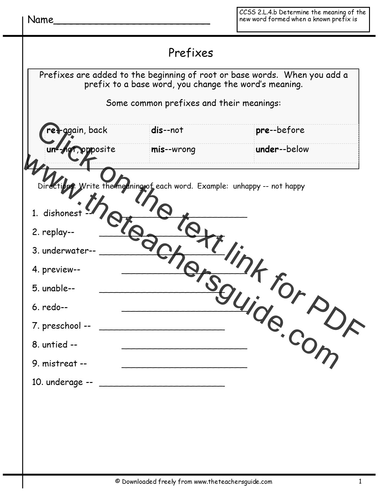 Prefixes Worksheets 4th Grade Free Prefixes and Suffixes Worksheets From the Teacher S Guide