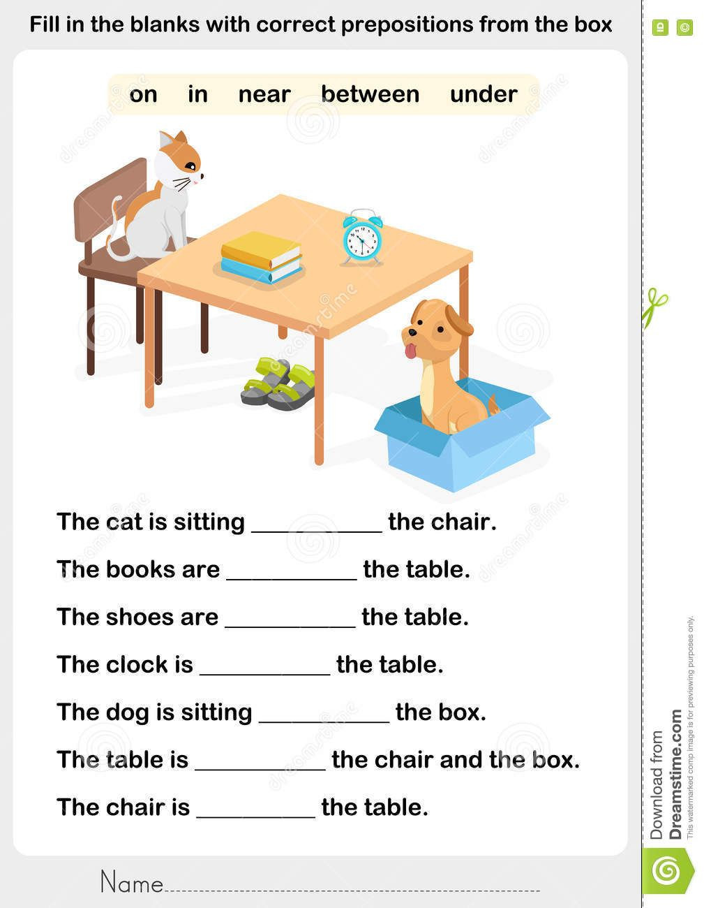 Preposition Worksheets for Middle School Illustration About Fill In the Blanks with Correct