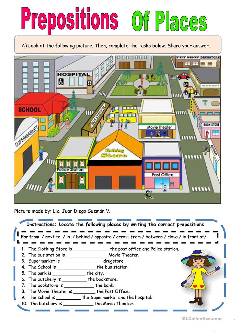 Preposition Worksheets for Middle School Preposition Of Places English Esl Worksheets for Distance