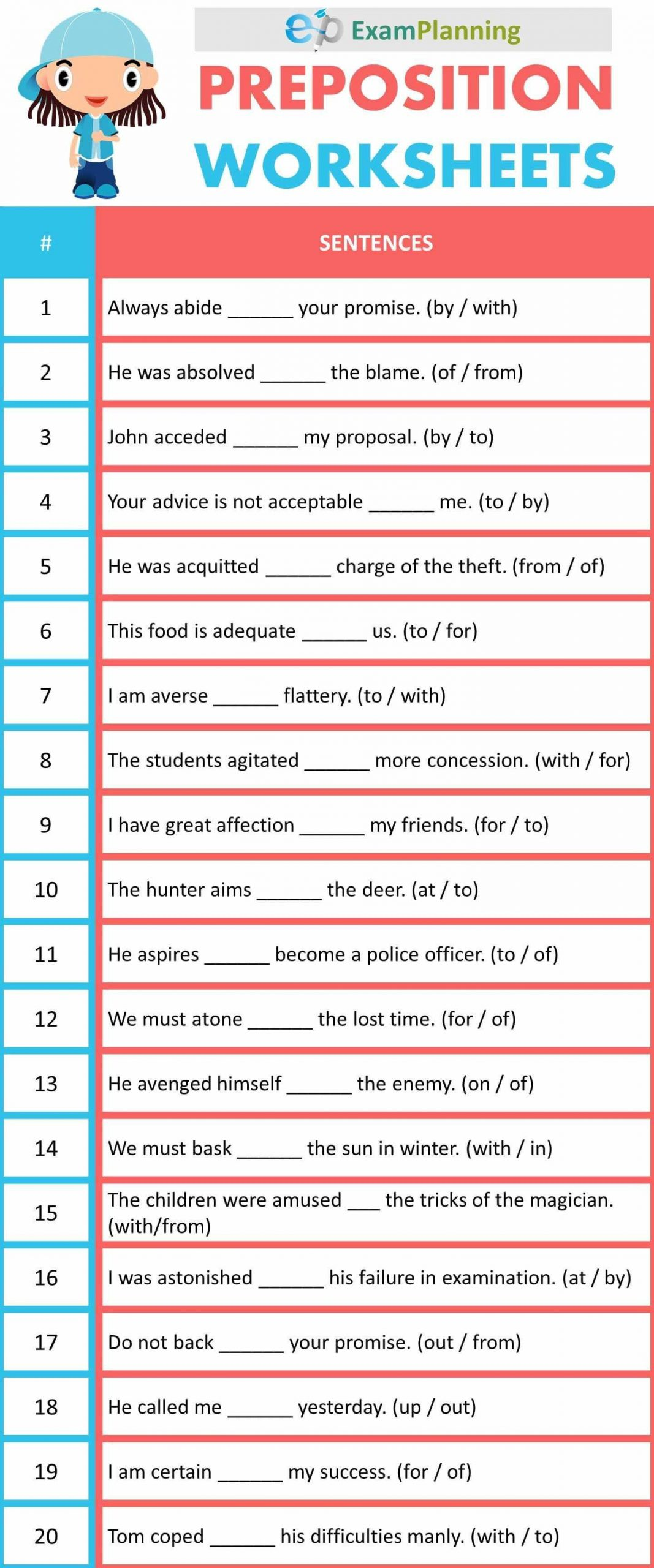Preposition Worksheets for Middle School Preposition Worksheets In 2020 with Images