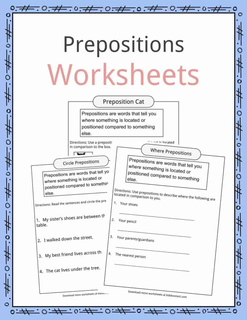 Preposition Worksheets for Middle School Prepositions Definition Worksheets & Examples In Text for Kids