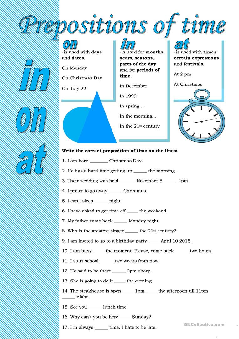 Preposition Worksheets for Middle School Prepositions Of Time English Esl Worksheets for Distance