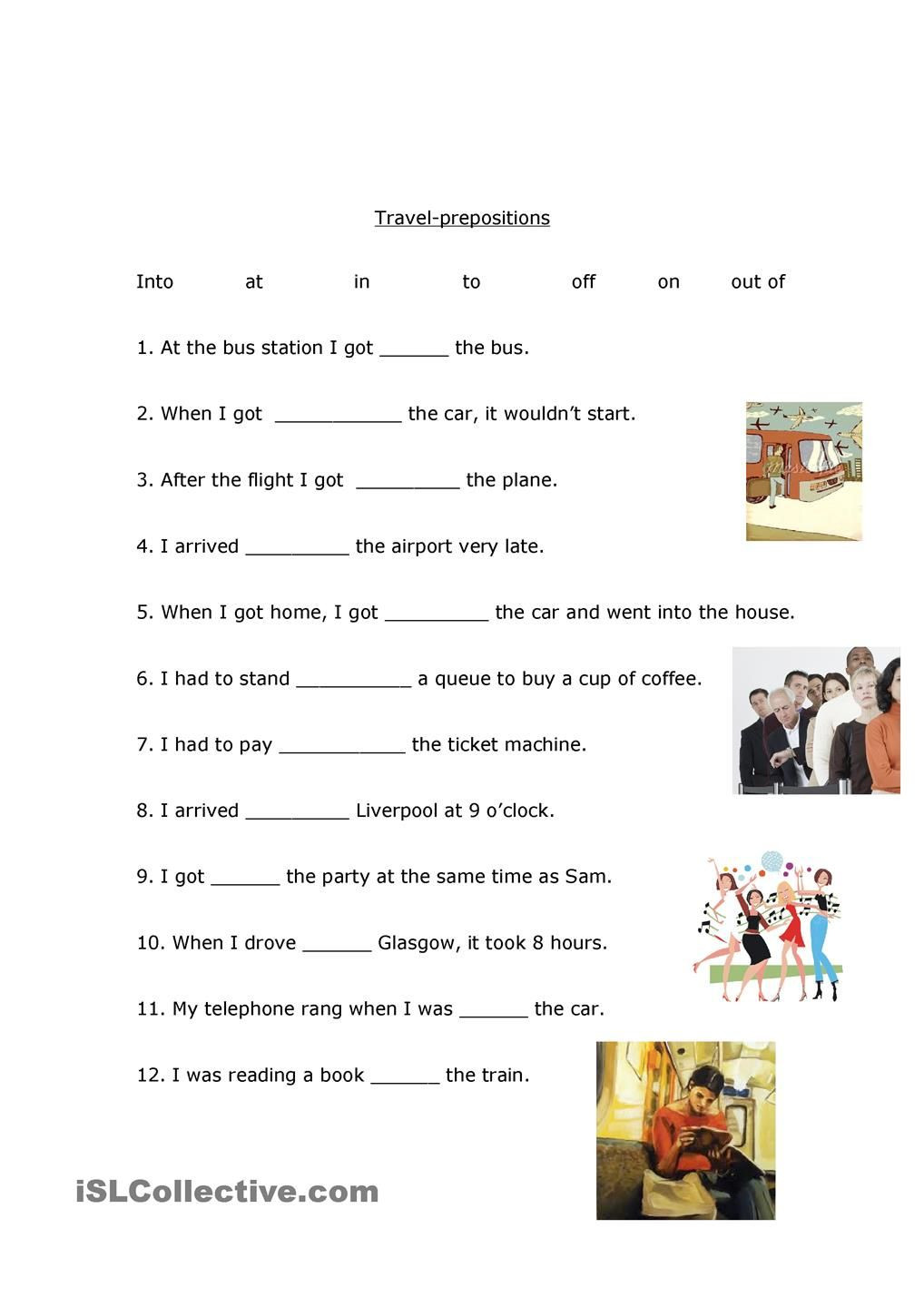 Preposition Worksheets for Middle School Travel Prepositions