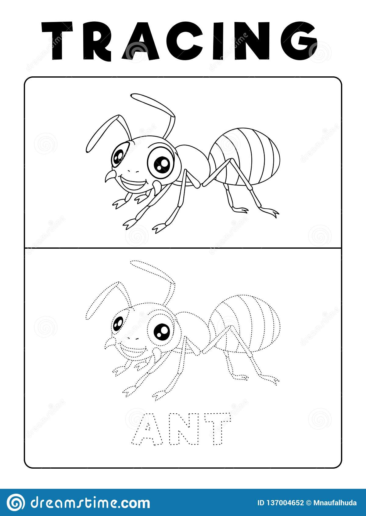 Preschool Bug Worksheets Funny Ant Insect Animal Tracing Book with Example Preschool