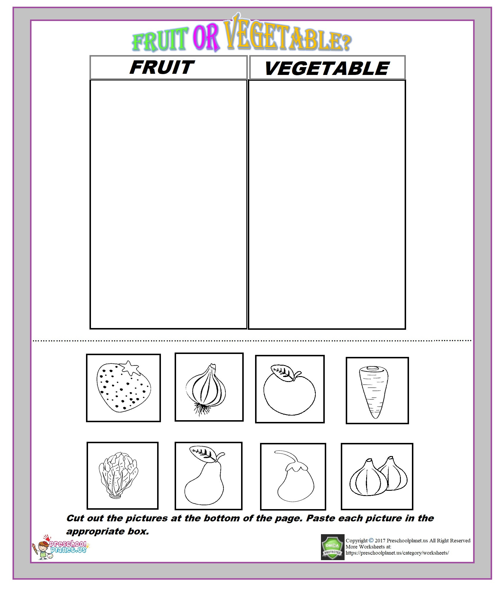 Preschool Fruits and Vegetables Worksheets Fruit or Ve Able Worksheet – Preschoolplanet