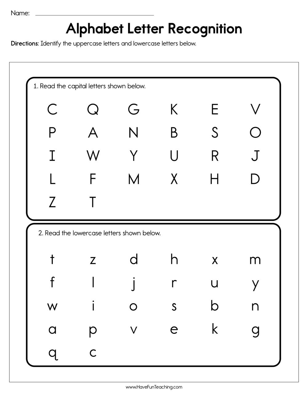 Preschool Letter Recognition Worksheets Alphabet Letter Recognition assessment Have Fun Teaching