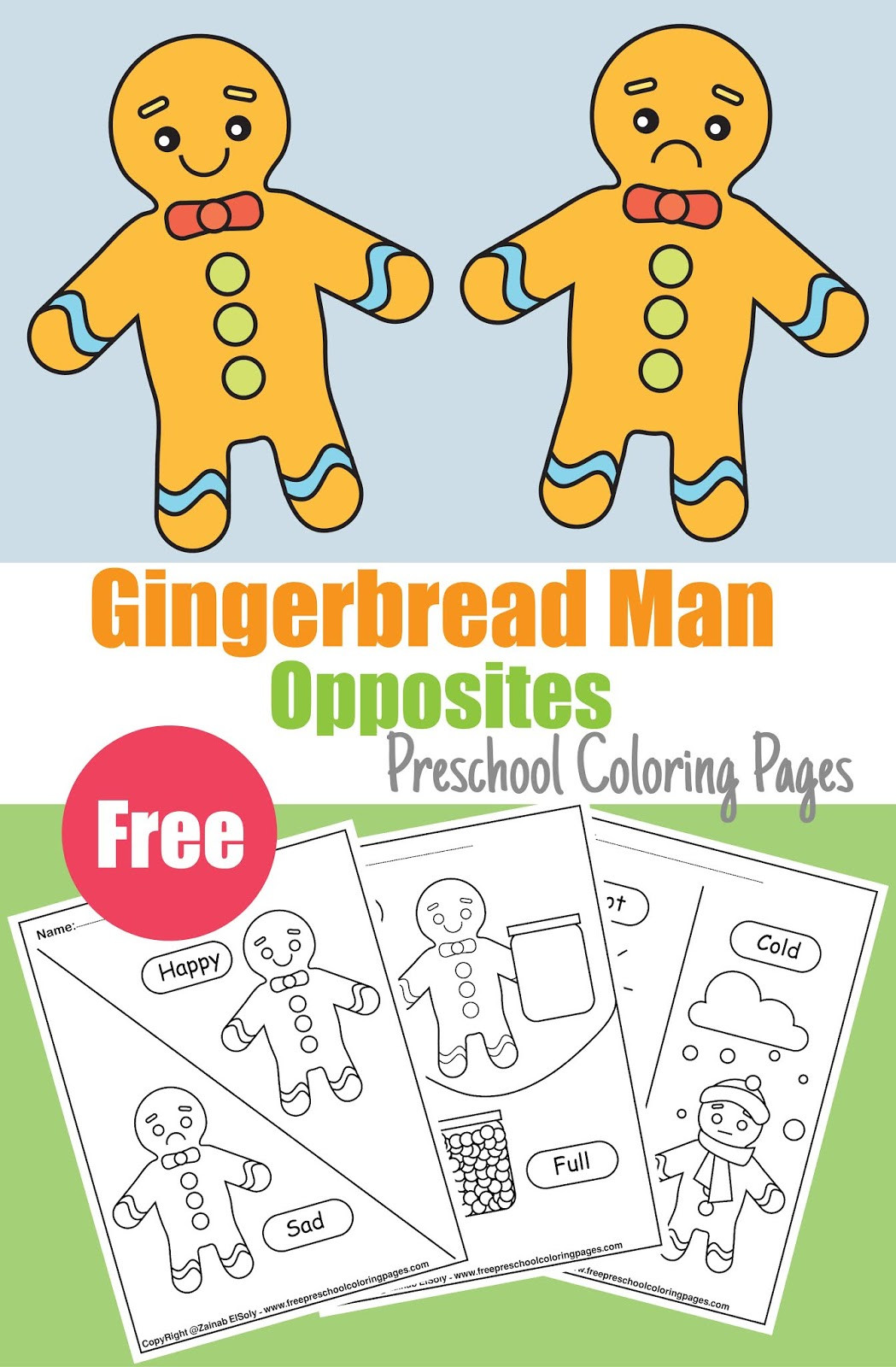 Preschool Opposites Worksheets Gingerbread Man Opposites Coloring Pages for Kids