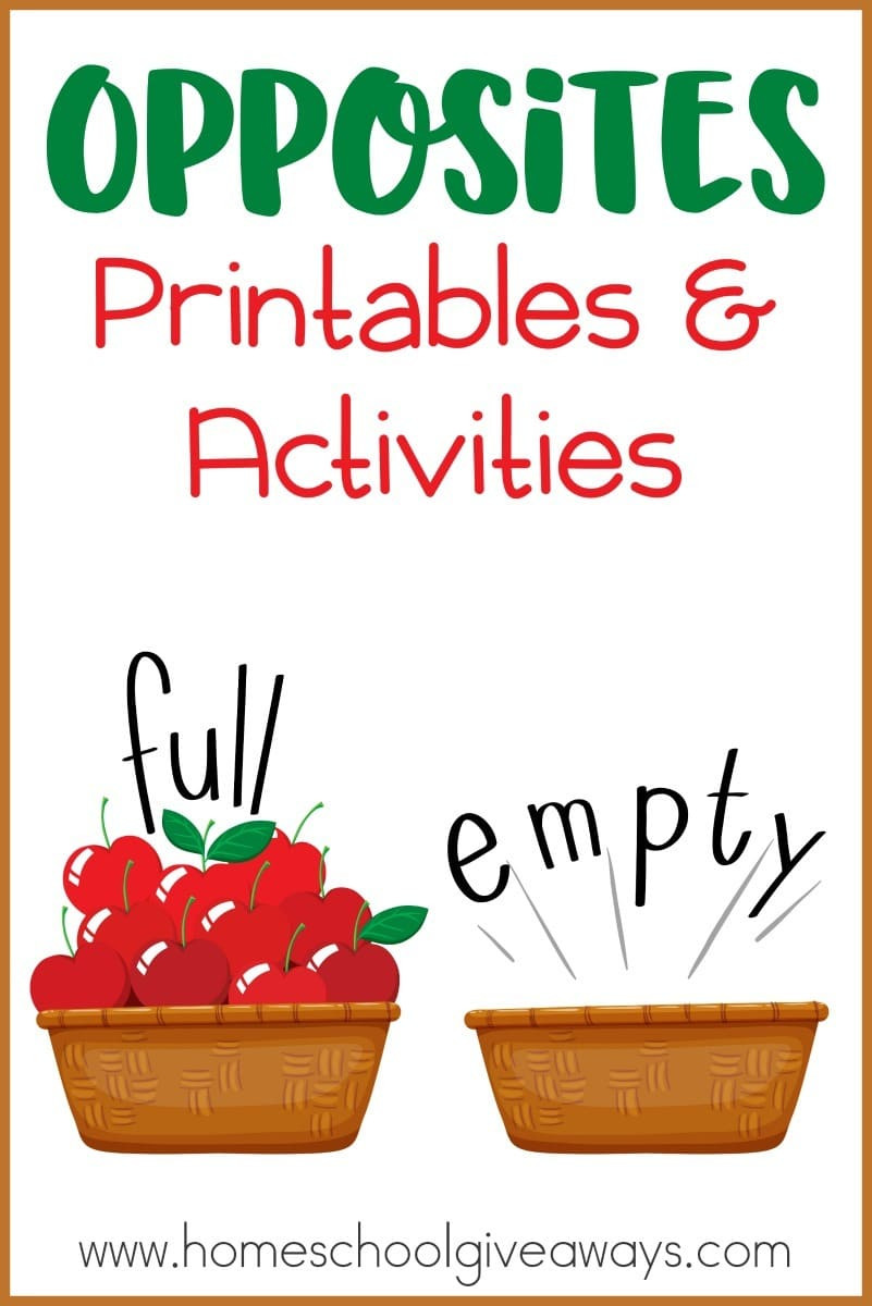 Preschool Opposites Worksheets Opposites Printables and Activities Homeschool Giveaways