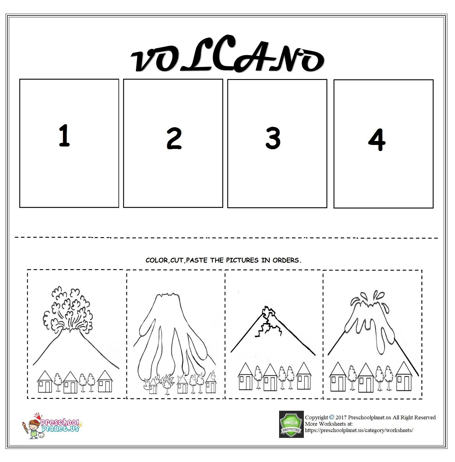 Preschool Sequencing Worksheets Volcano Sequencing Worksheet for Kids