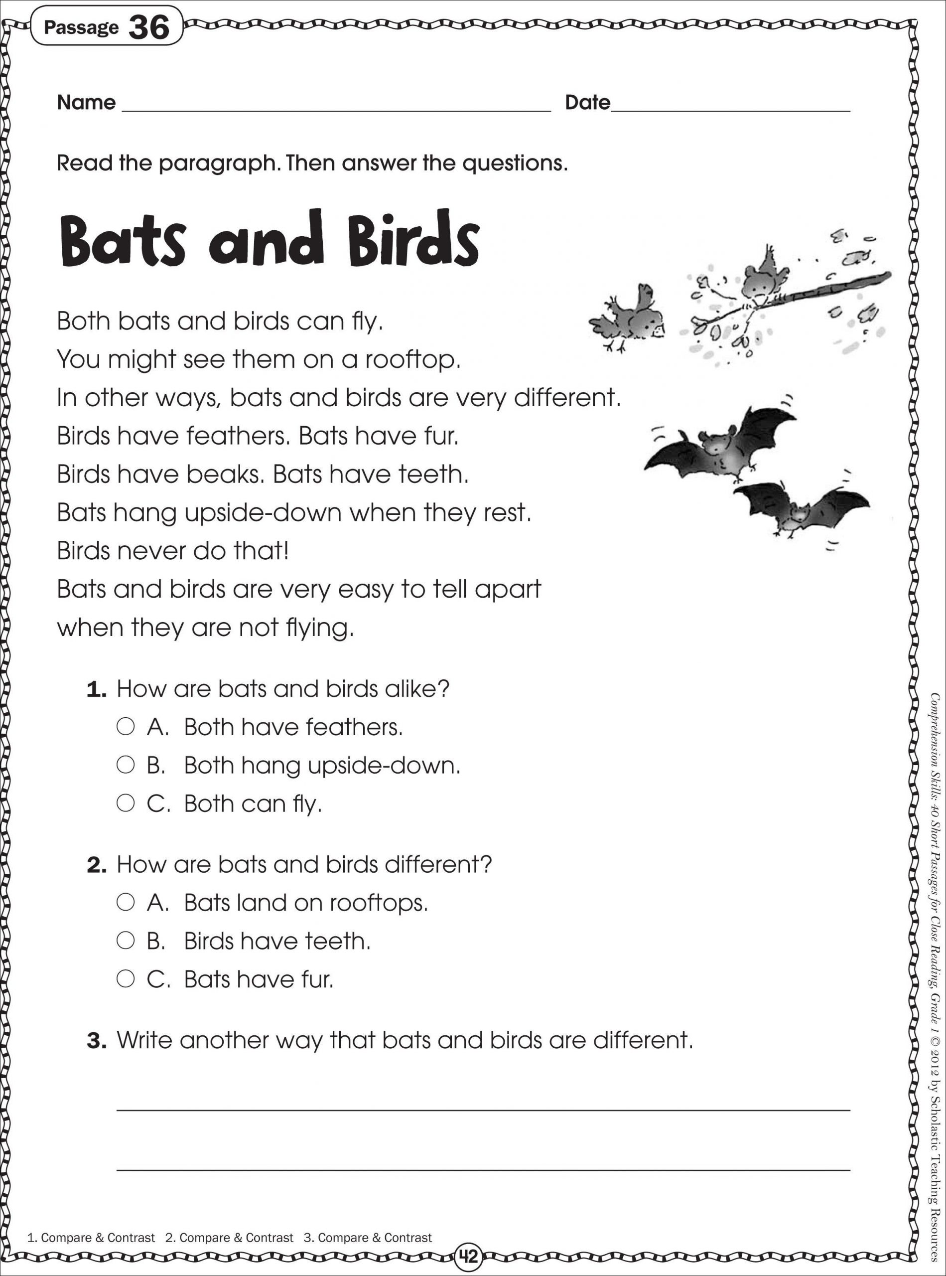 Printable First Grade Reading Worksheets Free Printable Reading Prehension Worksheets for