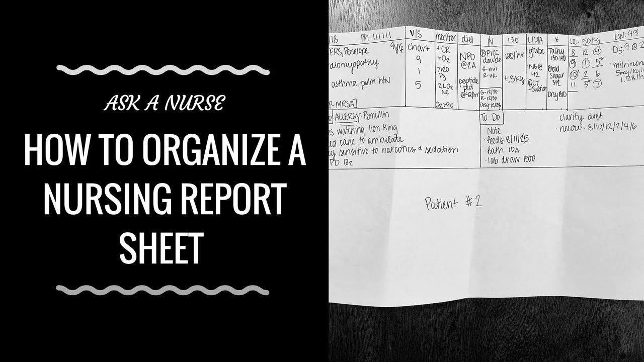 Printable Nurse Report Sheets How to organize A Nursing Report Sheet