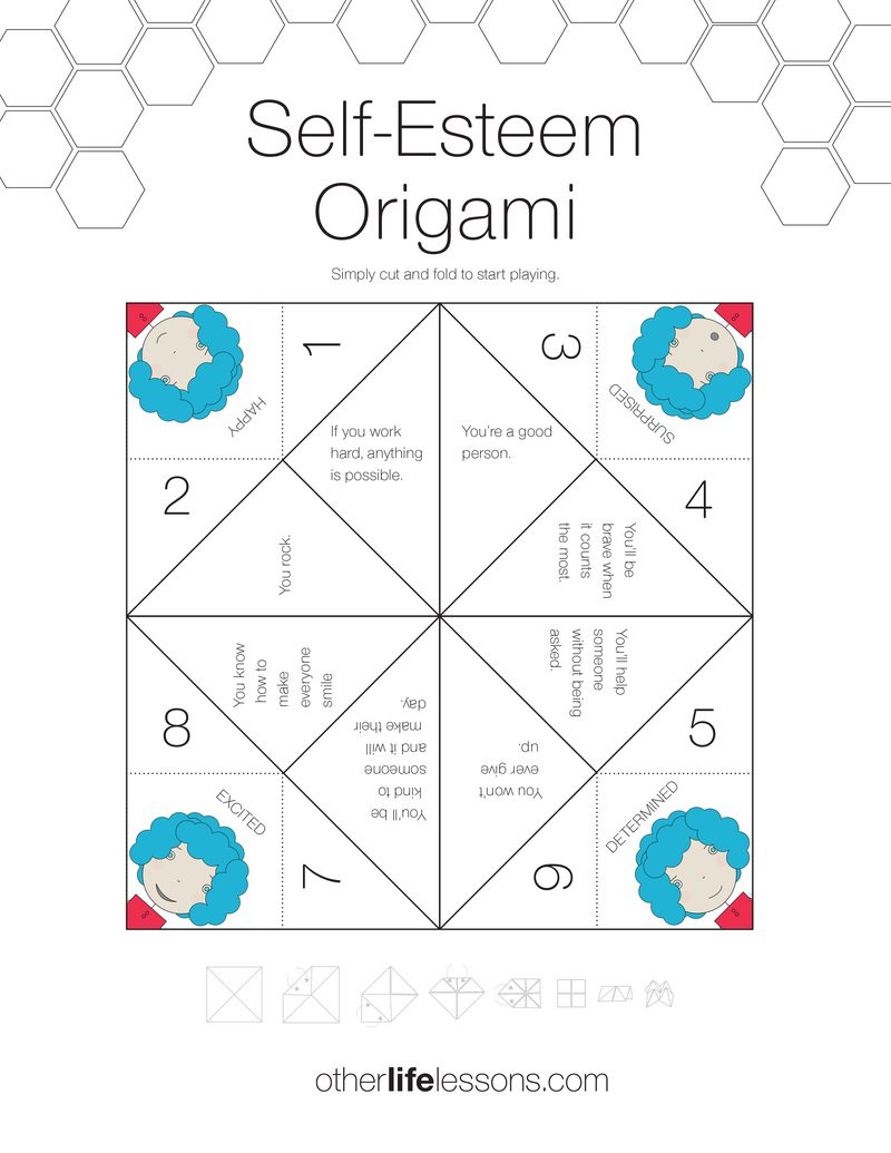Printable Self Esteem Worksheets Self Esteem origami Game Free Printable – Other Life Lessons