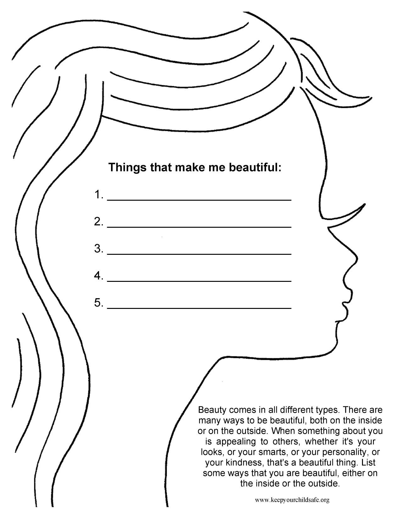 Printable Self Esteem Worksheets Things that Make Me Beautiful
