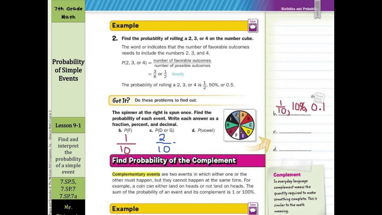 Probability Worksheet 7th Grade Probability Of Simple events
